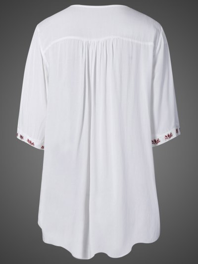 Embroidered Bib Maternity Dress - WHITE ONE SIZE Mobile