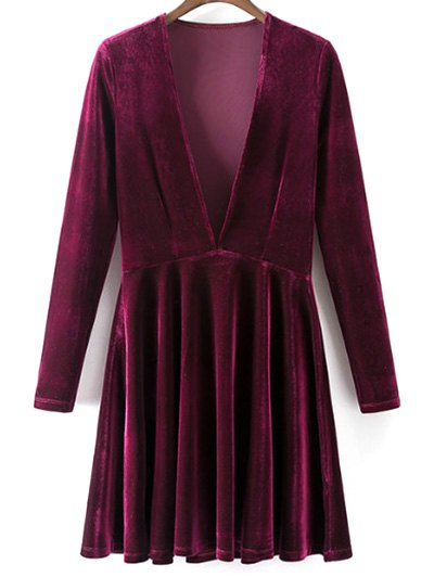 Velvet A-Line Dress - WINE RED S Mobile