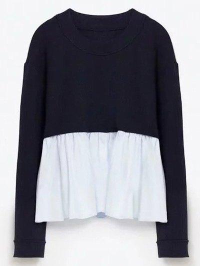 Round Neck Frill Panel Sweater - PURPLISH BLUE M Mobile