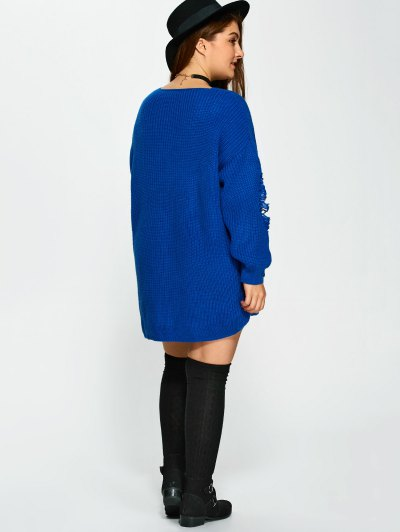Plus Size Distressed Longline Pullover Sweater - BLUE 5XL Mobile