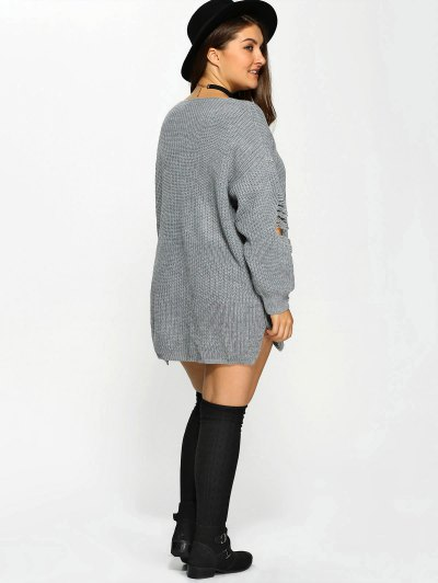 Plus Size Distressed Longline Pullover Sweater - GRAY 4XL Mobile