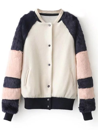 Faux Fur Panel Stand Neck Coat - WHITE S Mobile