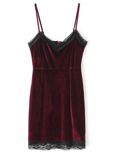 Lace Panel Pleuche Mini Cami Dress - BURGUNDY L Mobile