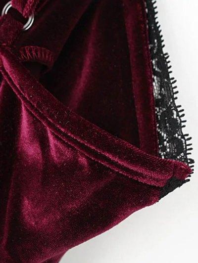 Lace Panel Pleuche Mini Cami Dress - GRAY L Mobile