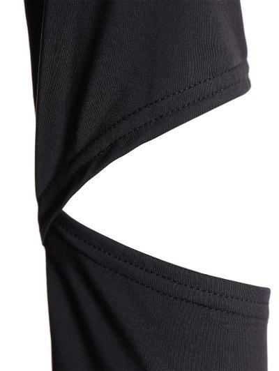 Off The Shoulder Long Sleeve Bodycon Dress - BLACK L Mobile