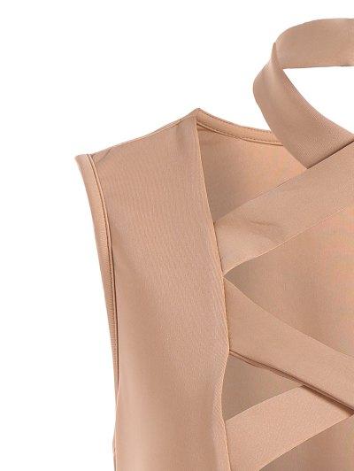 Plunging Neck Crisscross Strap Bodysuit - APRICOT L Mobile