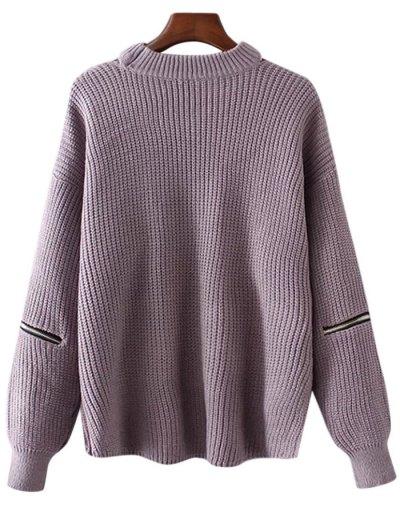 Plus Size Cut Out Chuky Choker Sweater - LIGHT PURPLE ONE SIZE Mobile