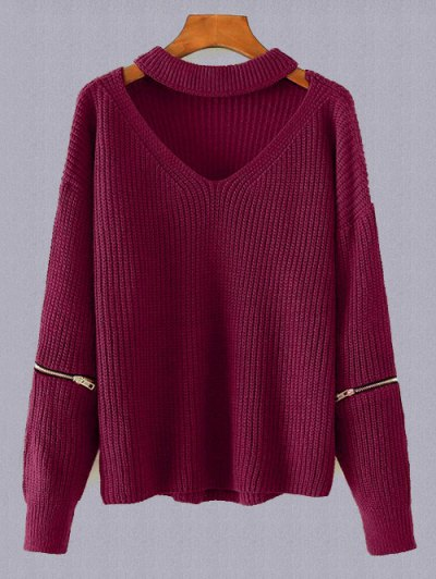 Plus Size Cut Out Chuky Choker Sweater - BURGUNDY ONE SIZE Mobile