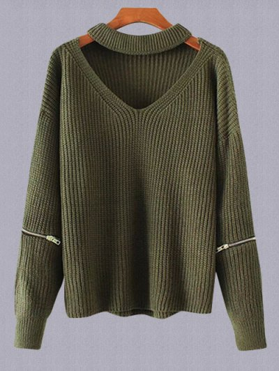 Plus Size Cut Out Chuky Choker Sweater - ARMY GREEN ONE SIZE Mobile