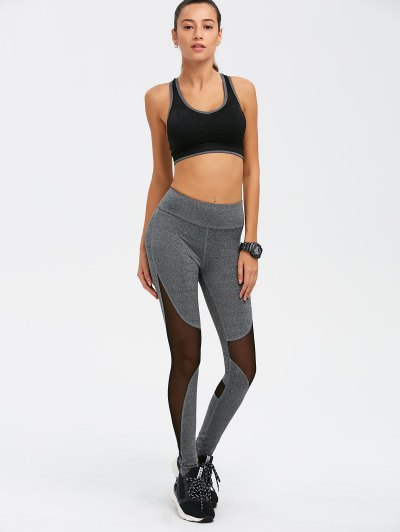 Mesh Spliced High Waist Skinny Yoga Leggings - GRAY L Mobile