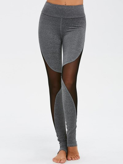 Mesh Spliced High Waist Skinny Yoga Leggings - GRAY M Mobile