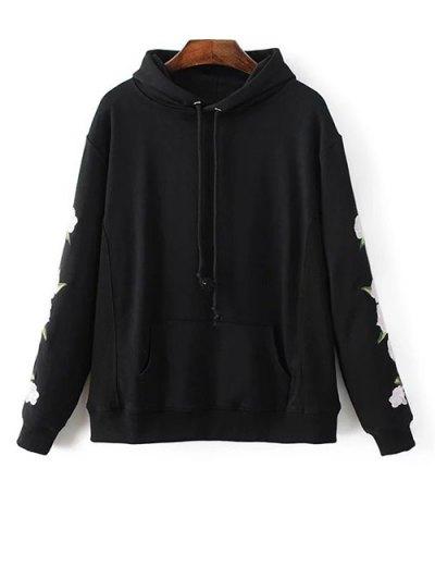 Front Pocket Floral Embroidered Hoodie - BLACK M Mobile