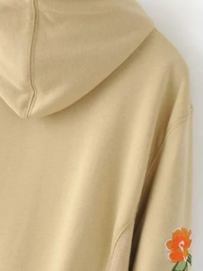 Front Pocket Floral Embroidered Hoodie - BLACK S Mobile