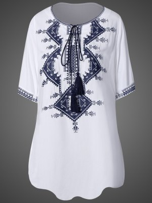 Tie Neck Embroidered Tunic Dress - White
