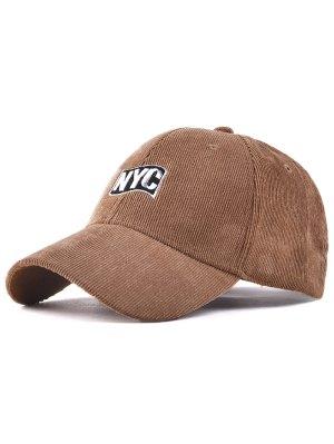 Spring Autumn NYC Embroidery Corduroy Baseball Hat - Khaki
