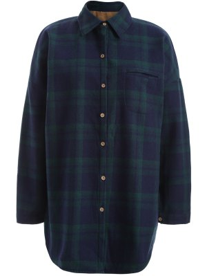 Plus Size Plaid Fleece Lined Shirt - Green