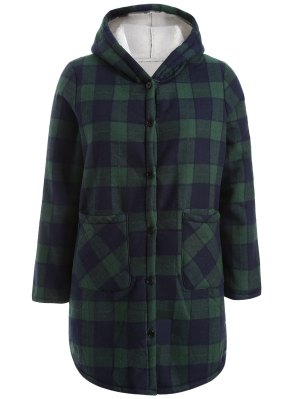 Hooded Plus Size Plaid Fleeced Coat - Blue And Green