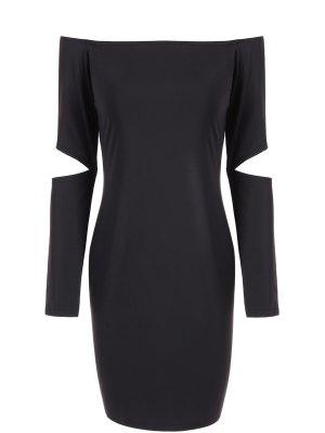 Off The Shoulder Long Sleeve Bodycon Dress - Black