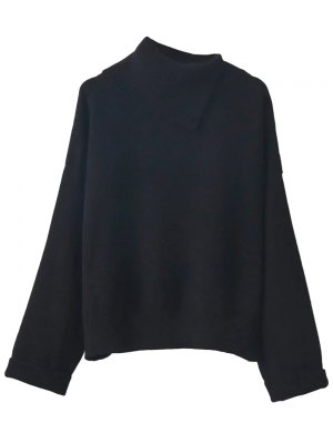 Asymmetric Neck Pullover Jumper - Black