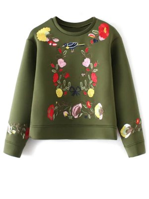Long Sleeve Flower Embroidered Sweatshirt - Green