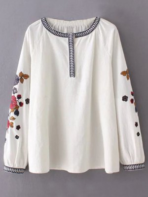 Flower Embroidered Blouse - White