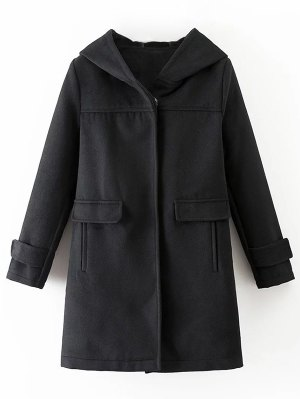 Hooded Pockets Wool Blend Coat - Black