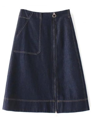 Zippered A Line Jean Skirt - Deep Blue