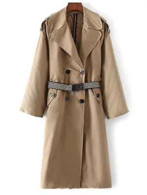Wide Lapel Double Breasted Trench Coat - Khaki