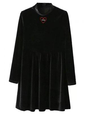 Mock Neck Velvet Flare Dress - Black