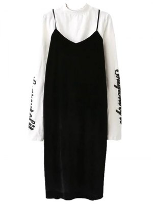 Pleuche Slip Dress With Letter Tee - White And Black