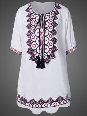 Mini Vestido Bordado Étnico - Blanco