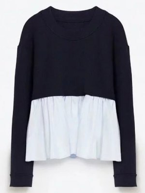 Round Neck Ruffles Panel Sweater - Purplish Blue