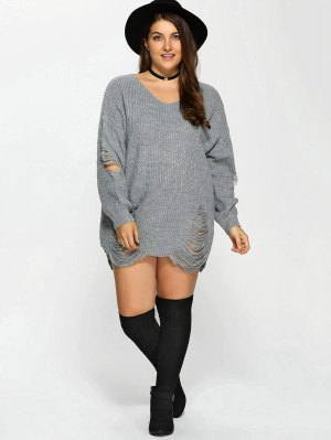 Plus Size Distressed Longline Pullover Sweater - Gray