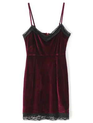 Lace Panel Pleuche Mini Cami Dress - Burgundy
