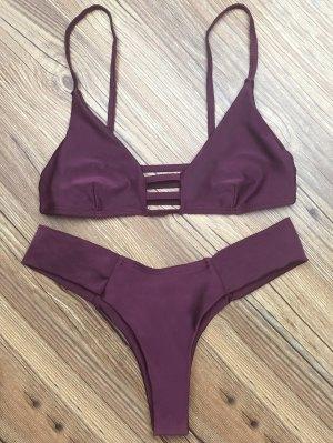 Ladder Spaghetti Strap Bikini Set - Deep Purple