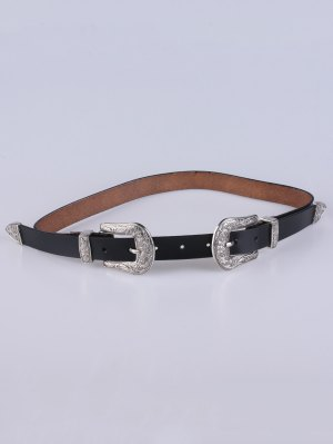 Double Pin Buckle Belt - Black