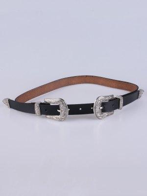 Double Pin Buckle Belt - Black