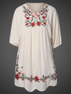 Floral Embroidered Bib Tunic Dress - Apricot
