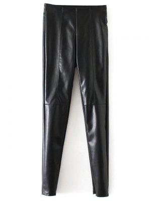Skinny PU Leather Narrow Feet Pants - Black