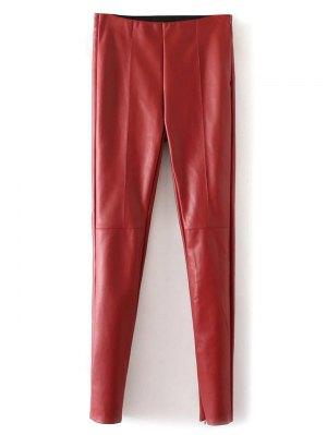 Skinny PU Leather Narrow Feet Pants - Red