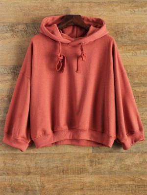 Drop Shoulder Design Pullover Hoodie - Red