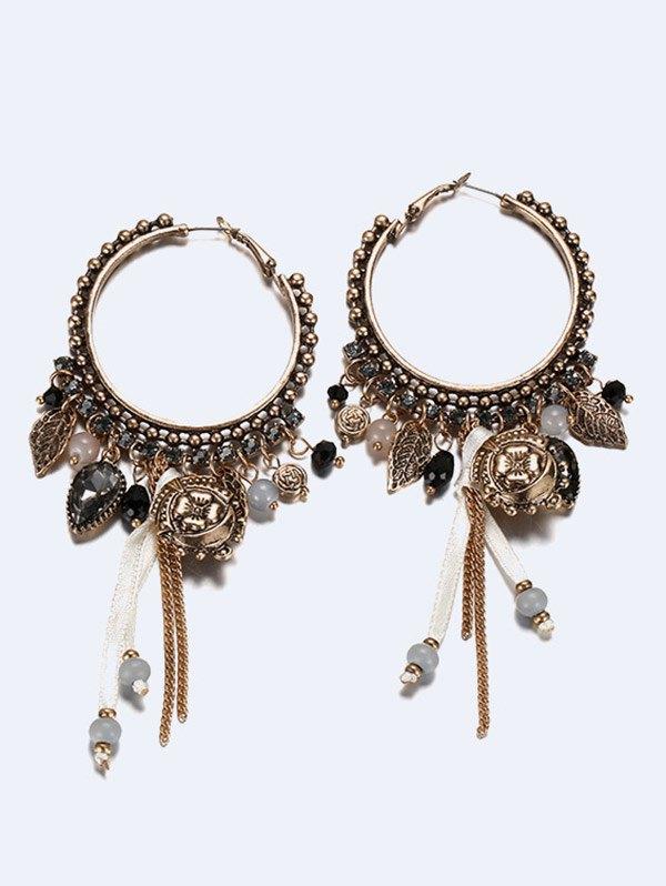 Faux Gemstone Bead Charm Earrings