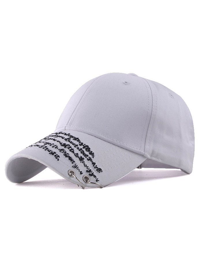 Iron Ring Letter Embroidery Sunscreen Baseball HatAccessories<br><br><br>Color: WHITE