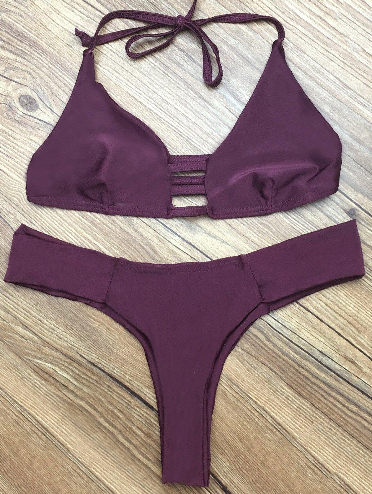 Halter Strappy Plunge Bikini Set