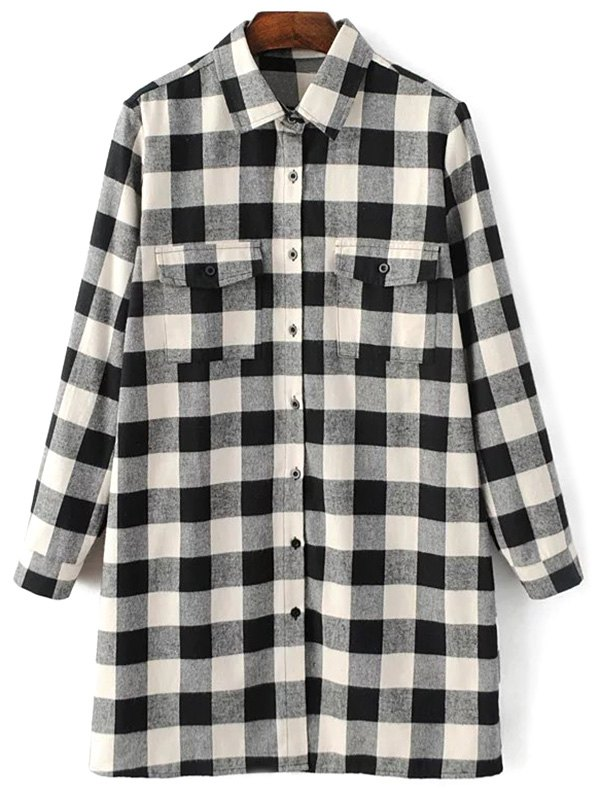 Shirt Neck Checked Boyfriend Shirt
