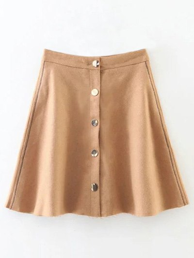 Single-Breasted Wool Blend Skirt