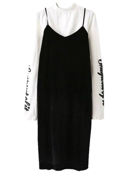 Pleuche Slip Dress with Letter Mock Neck T-Shirt