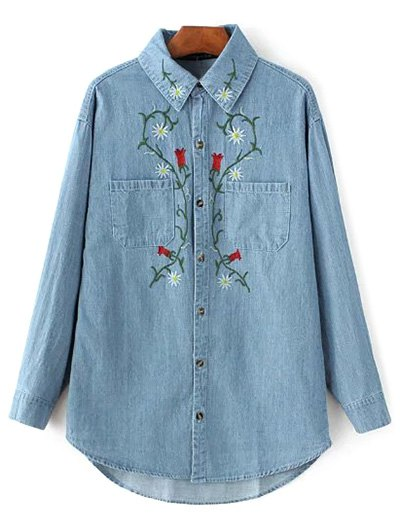 Floral Embroidered Long Sleeve Denim Shirt
