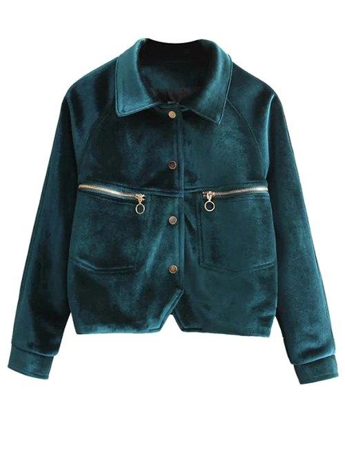 Zipper Pocket Velvet Graphic Embroidered Jacket