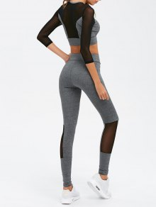 Mesh Spliced Skinny Sport Suit - Gray